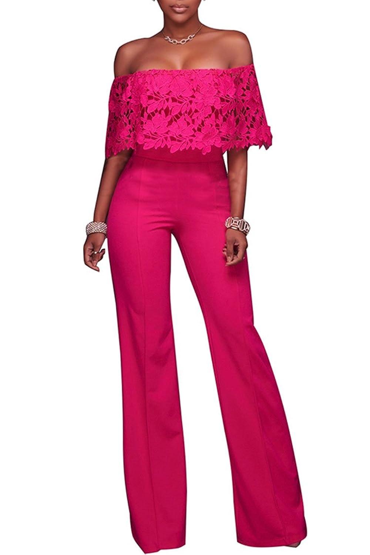 31c0f8de310 PinkWind Female Cotton Solid Lace Floucing Off Neck Wide Leg Jumpsuit  Romper Pants