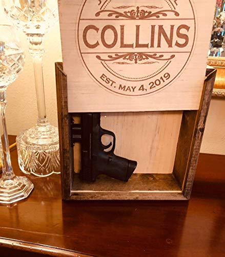 Personalized Hidden Gun Safe or Jewelry Concealment with Engraved Family Name and Wedding Date