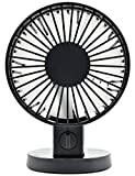Minhe USB Portable Fan - 30° Angle adjustment Quiet Double Leaf Cooling Desktop Fan for Office, Travel, Home, School, Dorm, Game Room, Household Fan (Black)
