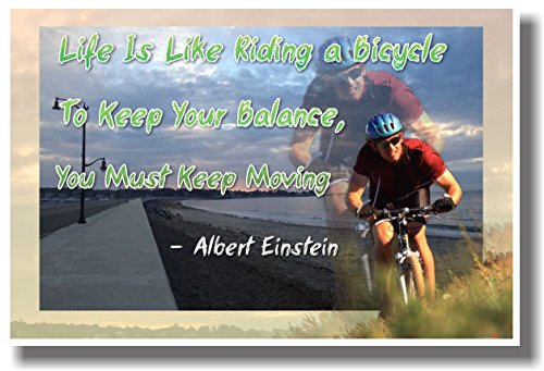 a Bicycle to Keep Your Balance You Must Keep Moving - Albert Einstein Quote - NEW Classroom Motivational Poster ()