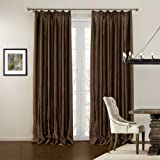 Leyden Double Pinch Pleat Modern Solid Brown Jacquard Polyester Curtain Drapes Multi Size Available Custom (One Panel) 150Wx102