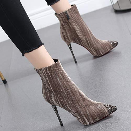 Hrcxue Botas De Tacón Martin Zapatos Con Para Mujer Punta Alto Sexy Terciopelo La Desnudas Moda Corte Y 38 rxxUw1X