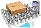 PALOTOP Russian Piping Tips 60-Pcs Set (36 Russian Tips + Coupler + Tri-color Coupler + leaf tip + silicone bag + 20 Disposable Pastry Bags) Deluxe Russian Icing Tips Set + Online Instructional Videos
