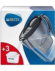 BRITA Filtr do wody Marella wraz z 3 wkładami filtrującymi MAXTRA+ – filtr BRITA pakiet startowy do redukcji wapna, chloru, ołowiu, miedzi