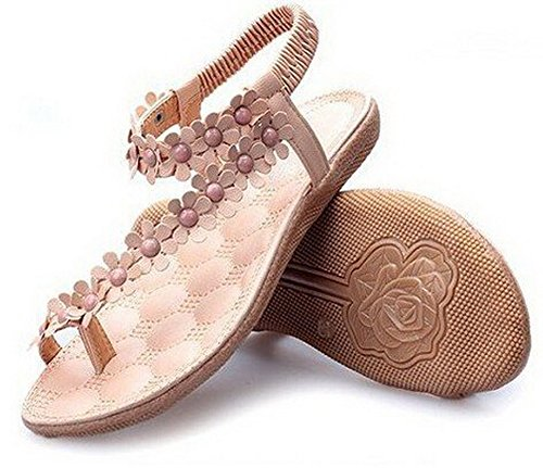 Good Day 888 Womens Shoes Flat Flats Beaded Soft Outsole Sweet. (White, 7.5) 7.5