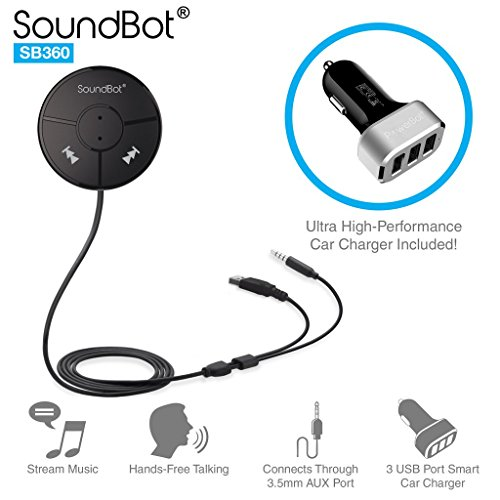SoundBot SB360 Bluetooth 4.0 Car Kit Hands-Free Wireless Talking & Music Streaming Dongle w/ 10W Dual Port 2.1A USB Charger + Magnetic Mounts + Built-in 3.5mm Aux Cable High Performance Video Adapter