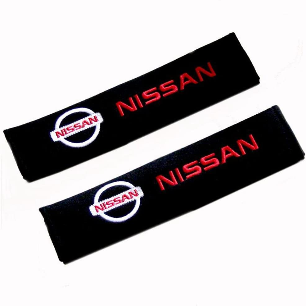 Altergo Mustang Cars Embroidered Badge Comfortable Seat Belt Shoulder Pad Cover Velcro Opening Fiber 1 Pair