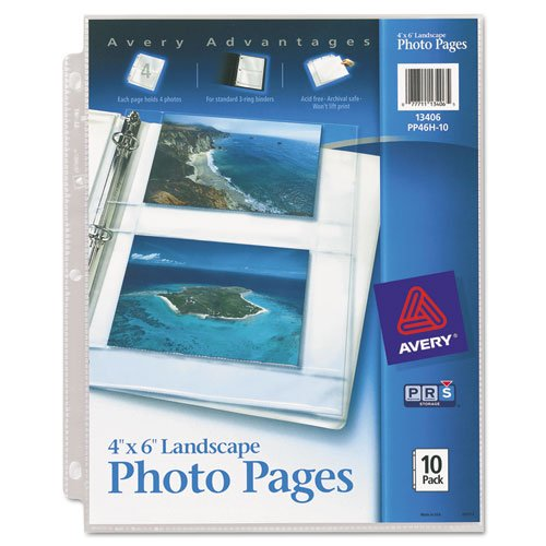 Avery Consumer Products Products - Horizontal Photo Pages, 4 Photo Capacity, 4amp;quot;x6amp;quot;, 10/PK, Clear - Sold as 1 PK - Horizontal Photo Pages allow you to insert four 4amp;quot; x 6amp;quot; photos in each page. Three-hole punched for convenien