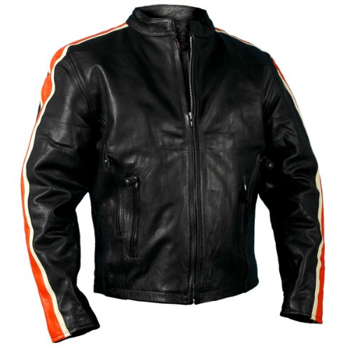 Hot Leathers #47 Men's Jacket with and Arm Stripes (Black, Size 60)