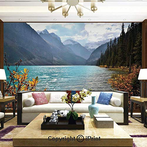 Lionpapa_mural Removable Wall Mural Ideal to Decorate Your Dining Room,Lake Louise Banff National Park Canada Mountains Autumn Plants,Home Decor - 100x144 inches