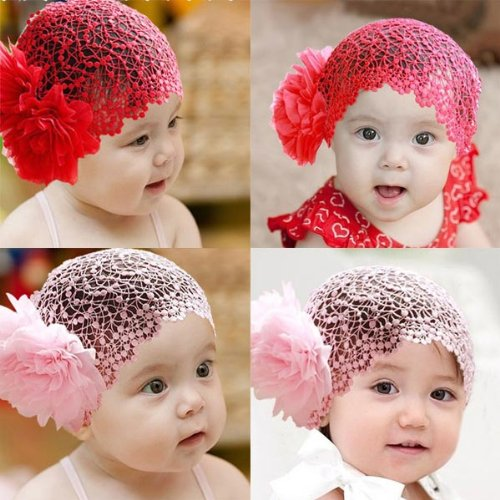 Price comparison product image 2 Colors Baby Girl Flower Lace Bow Elastic Hairband HeadBand .
