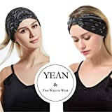 Yean Boho Wide Headbands Black Stretch Hair Bands
