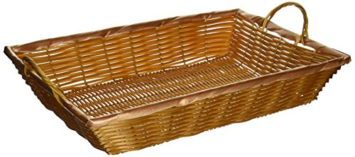 Winco PWBN-16B 16-Inch by 11-Inch by 3-Inch Rectangular Woven Basket with Handles Serving Basket