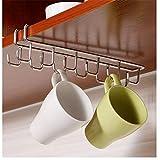 Kitchen Storage Rack, Stainless Steel Cupboard Hanging Hook Hanger, Double Row Tea Cup Mug Holder Under Shelf Cup Hanger Drying Rack 12 Hooks Towel Holder Multifunction Chest Cabinet Organizer Holder