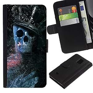NEECELL GIFT forCITY // Billetera de cuero Caso Cubierta de protección Carcasa / Leather Wallet Case for Samsung Galaxy S5 Mini, SM-G800 // Rey Esqueleto