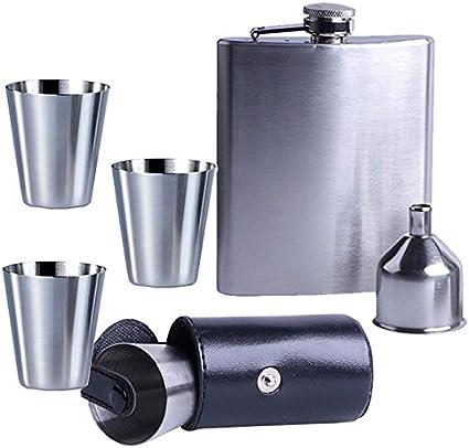 8 pcs Flasque set XXL de POCHE bouteille acier inoxydable 200 ml flasque avec gobelets