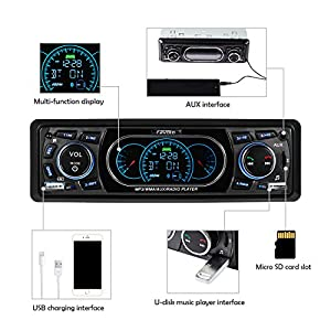 Favoto Car Stereo Receiver Blueooth In-Dash Head Unit Single Din Car Radio MP3 Player Digital Media Receivers Handsfree Call USB SD FM AUX DC 12V Wireless Remote