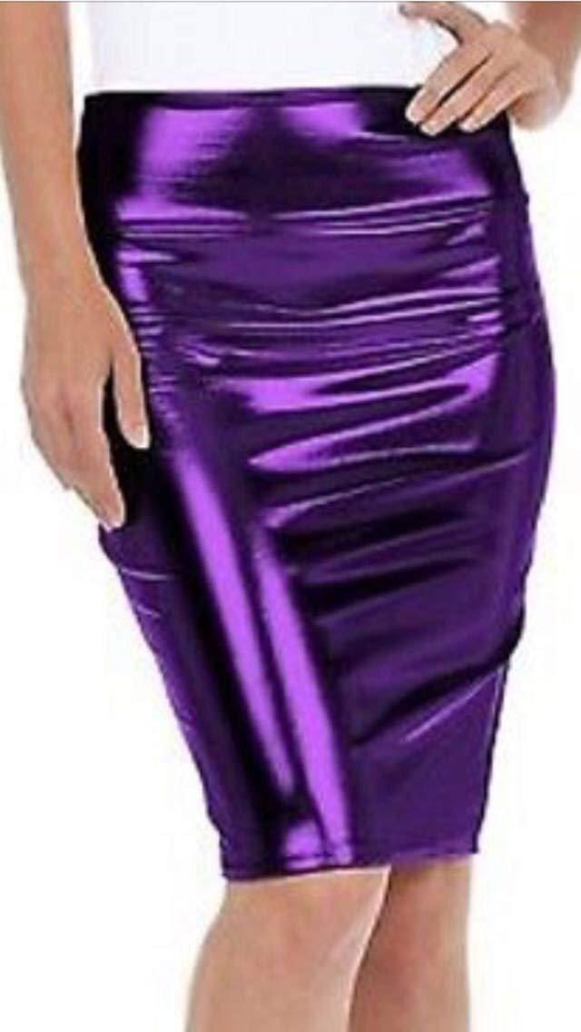 Ladies Metallic Shiny PVC Wet Look Disco High Waisted Pencil Skirt UK Size 8-26 (Purple, L/XL (UK 16-18))