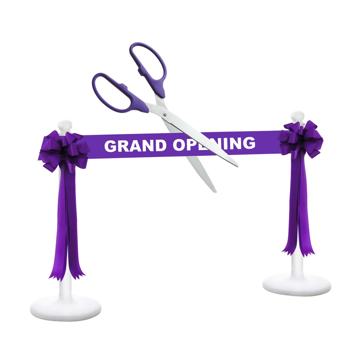 Deluxe Grand Opening Kit - 36'' Purple/Silver Ceremonial Ribbon Cutting Scissors with 5 Yards of 6'' Purple Grand Opening Ribbon, 2 Purple Bows and 2 White Plastic Stanchions