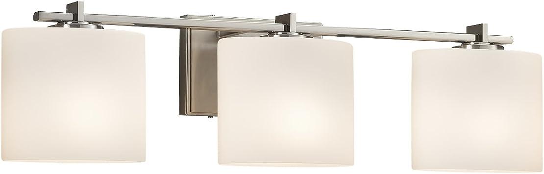 Era 3-Light Bath Bar Oval Artisan Glass Shade in Opal Brushed Nickel Finish Fusion