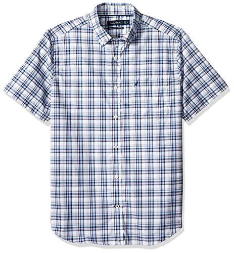 Nautica Men's Short Sleeve Wrinkle Resistant Lux Plaid Button Down Shirt, Blue Large