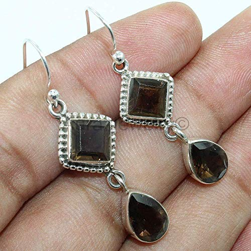 (Solid 925 Sterling Silver Earrings for Womens, Sterling Silver Smokey Topaz Earrings Drop & Dangle Mothers Day Gift, Bridesmaid Gift, Handmade Jewelry)