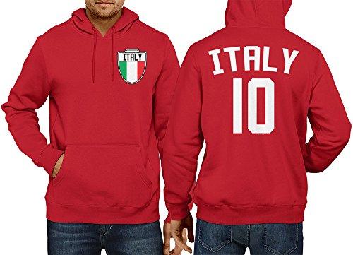 Mens Italia - Italy, Italian - Soccer Football Hoodie Sweatshirt (Small, RED)