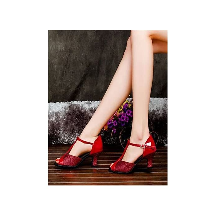 Shangyi Scarpe Da Ballo - Non Personalizzabile Donna Latinoamericano Tacco Spesso Satin Nero Rosso Argento Oro Altro Red-us6 5-7 Eu37 Uk4 5-5 Cn37
