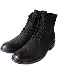 NEW MENS HIGH ANKLE BOOTS LEATHER LINED LACE UP OXFORDS WING TIP ZIPPERED DRESS SHOES M828 /BLACK