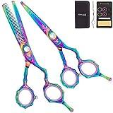 """Washi Beauty - Rainbow Bamboo Set w 5.5"""" Shear 30 Tooth Texturizer, Razor, & Case"""