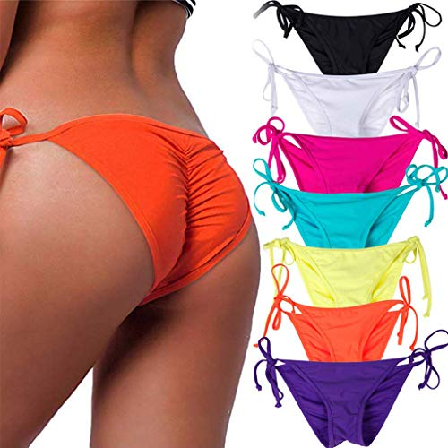 (STARBILD Women's Sexy Brazilian Bikini Bottom with Tie-Side Cheeky V Cut Thong Swimsuit L Orange)