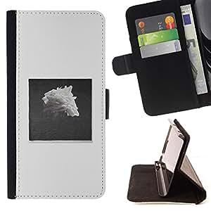 "For HTC One A9,S-type Pile Negro Blanco Rose Art"" - Dibujo PU billetera de cuero Funda Case Caso de la piel de la bolsa protectora"