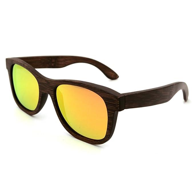LiHOOD Gafas De Sol De Madera Hecho A Mano Pintura Marron ...