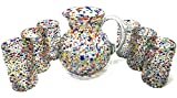 Mexican Hand Blown Glass Drinkware Set - Includes 84oz Pitcher and 6 Blown Drinking Glasses (14oz) – Confetti Rock Design