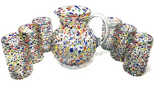 Mexican Hand Blown Glass Drinkware Set - Includes 84oz Pitcher and 6 Blown Drinking Glasses (14oz) - Confetti Rock ()