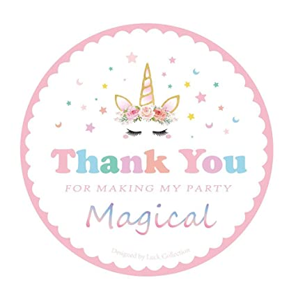 amazon com magical unicorn stickers thank you stickers for unicorn