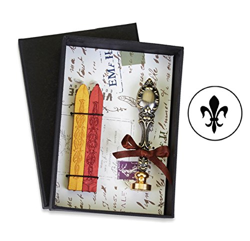 (Fleur De LYS Vintage Deluxe Wax Seal Kit with Symbol-Red and Gold Sealing)