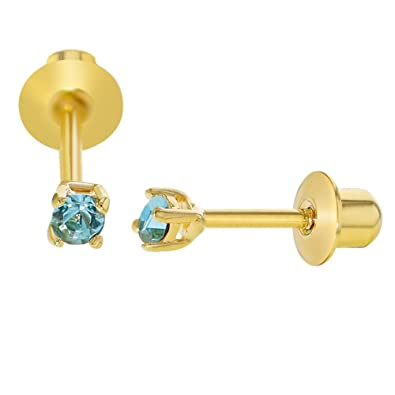 500c8d867 18k Gold Plated December Blue Crystal Screw Back Baby Earring 2mm:  Amazon.co.uk: Jewellery