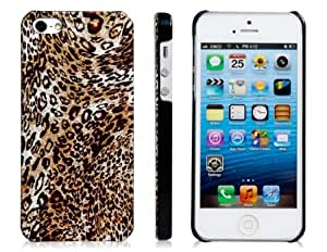 Glossy leopardo del caso plástico para el iPhone 5 (Brown)