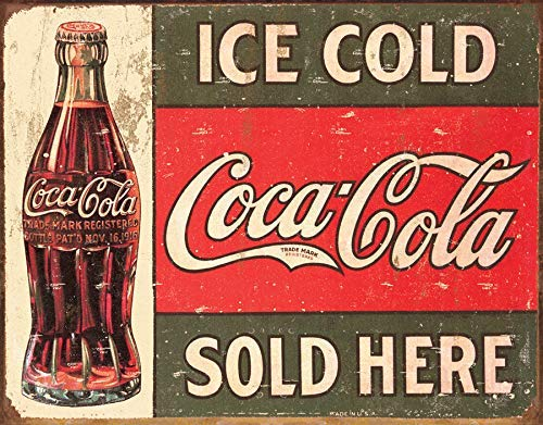 Union Eletina Metal Sign - Coke - C. 1916 Ice Cold, 16x12