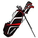 "Premium Men's Tall Complete Full Golf Club Set (Men's, Right Hand, +1 Inch Fit 6'0"" to 6'3"", Black&Red)"