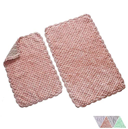 The Home Talk Ultra Soft Spa Cotton Crochet Bath Rugs or Mat Place in Front of Shower Vanity Bath Tub Sink and Toilet 16quot x24 and 20quotx32quot Blush Pink Pack of 2