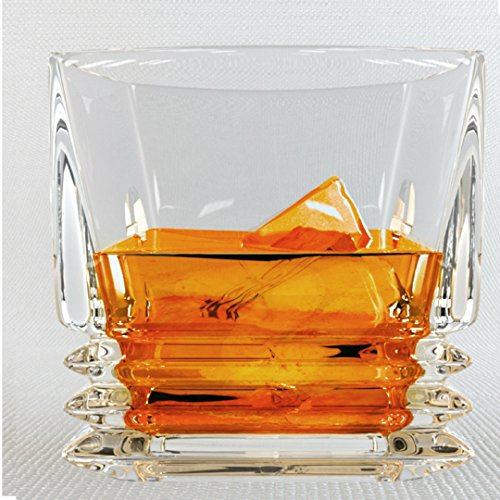 Pacific Whiskey Glasses, Gift Pack Set Of 2 - Scotch Lead Free Liquor Tumblers, Dishwasher Safe, Classic Old Fashioned Barware, Rum Vodka Glassware, Elegant Ultra Clarity Cocktail Bourbon Whisky (Irish Crystal Glassware)