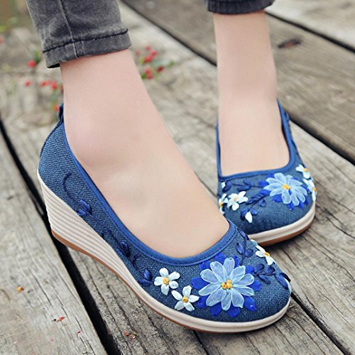 VEMOW Sports Outdoor Shoes for Women, Trainers Mary Janes Cute Lace-up Flats Flip Flops Thongs Espadrilles Wedge Running Walking, of National Style Flax Embroidered Rib Bottom Blue