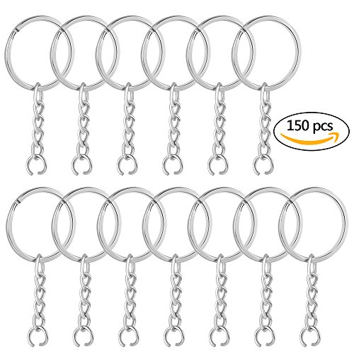 150Pcs Split Key Chain Rings with Chain and Jump Rings, Lystaii Key O Rings for DIY Arts Crafts Nickel Plated Keychain Set Split Rings Bulk Jewelry Findings Silver Jump Ring Connector 25mm for Kids - Key Chain Set