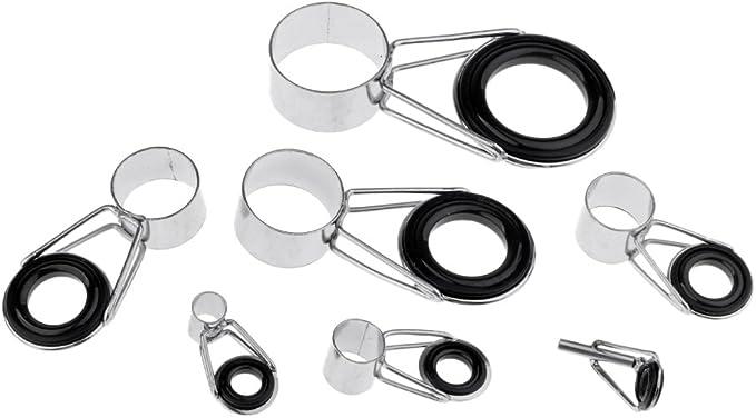 CUTICATE 7pcs Telescopic Fishing Rod Guide Tip Repair Kit 4mm 20mm Rod Eye Rings Guides DIY Tackle