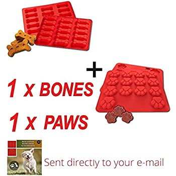 Dog Paws and Bones Silicone Pans   2 Pack FDA Food Grade Large Ice Cube Trays   Puppy Silicone Baking Molds   Red   100% Certified BPA Free   by Laminas