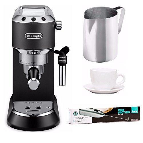 "DeLonghi Dedica EC685BK Deluxe Less Than 6"" Wide Pump Espresso Machine + Frothing Pitcher, Frother and Cups"