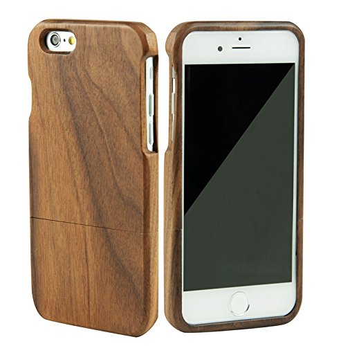 SunSmart Unique Handmade Genuine Natural Wood Wooden Hard bamboo Case Cover for iPhone 6 plus 5.5'' (black walnut)
