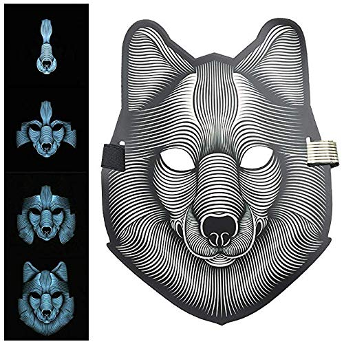 eLUUGIE Wolf Face Mask Music LED Party Mask Voice Control Up Scary Mask Halloween Mask,LED Scary Mask Cosplay Light up Mask Costume for Mask Party Masquerade Glowing Party Christmas Dance Face